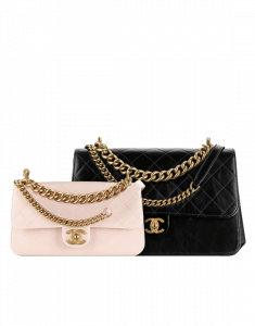 Chanel Pink and Black Calfskin/Iridescent Calfskin Small and Large Flap Bags