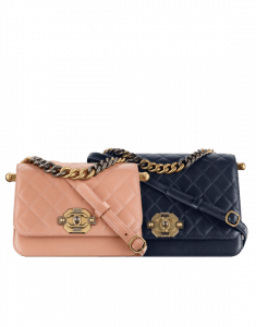 Chanel Pink and Navy Blue Lambskin Flap Bags