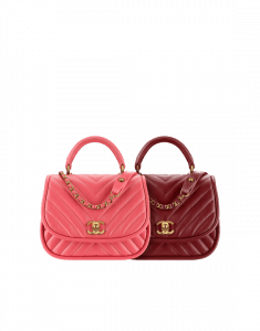 Chanel Pink and Red Chevron Lambskin Flap Bag with Top Handle