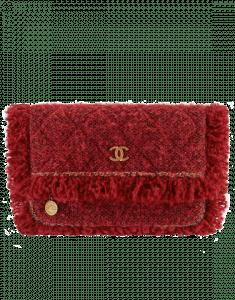 Chanel Red/Fuchsia/Black Tweed Clutch Bag