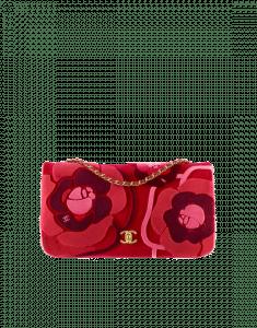 Chanel Red/Pink Embroidered Velvet Clutch Bag