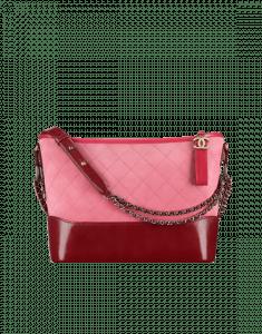 Chanel Red/Pink/Burgundy Suede/Calfskin Gabrielle Hobo Bag