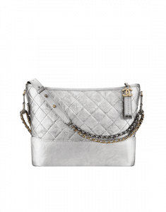 Chanel Silver Metallic Crumpled Calfskin Gabrielle Hobo Bag