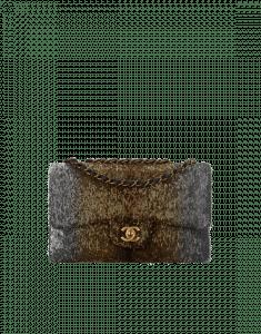 Chanel Silver/Gold Sequins/Lambskin Classic Flap Medium Bag