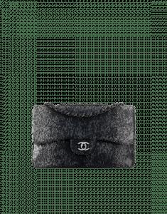 Chanel Silver/Navy Blue Sequins/Lambskin Classic Flap Medium Bag