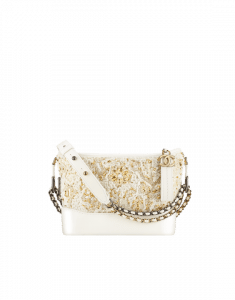 Chanel White/Gold Embroidered Tweed/Calfskin Gabrielle Small Hobo Bag