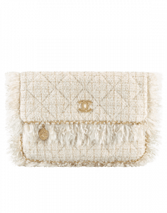 Chanel White/Off-White/Gold Tweed Clutch Bag