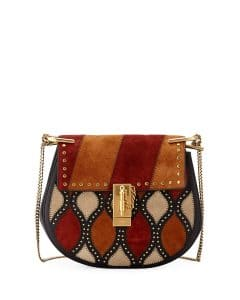 Chloe Black Multicolor Patchwork Drew Small Shoulder Bag