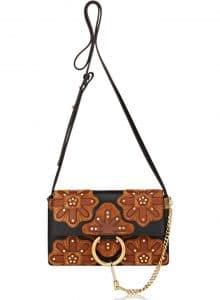 Chloe Black/Brown Floral Patchwork Faye Small Shoulder Bag