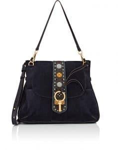 Chloe Blue Embellished Suede Lexa Medium Bag