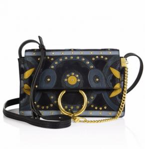 Chloe Blue Studded Flower Faye Small Shoulder Bag