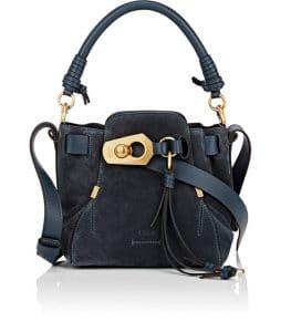 Chloe Blue Suede Owen Small Bucket Bag