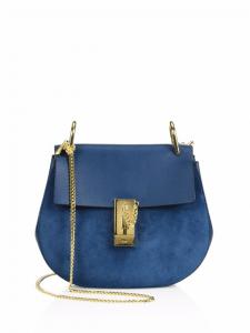 Chloe Blue Suede/Leather Drew Mini Saddle Bag