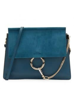 Chloe Blue Suede/Leather Faye Medium Shoulder Bag