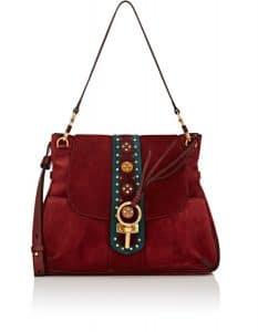 Chloe Burgundy Embellished Suede Lexa Medium Bag