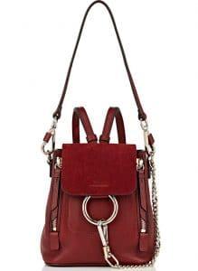 Chloe Burgundy Faye Mini Backpack Bag
