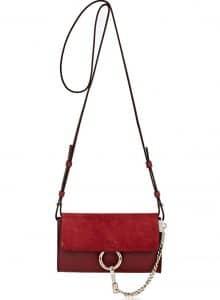 Chloe Burgundy Faye Mini Crossbody Bag