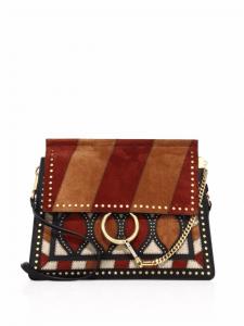 Chloe Caramel Multicolor Studded Patchwork Faye Medium Shoulder Bag