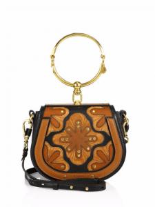 Chloe Caramel/Black Flower Patchwork Nile Small Bracelet Crossbody Bag