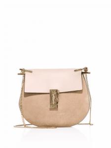 Chloe Pink Suede/Leather Drew Mini Saddle Bag