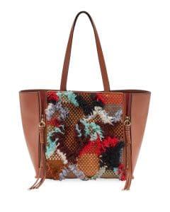 Chloe Tan Tapestry Woven Milo Medium Tote Bag
