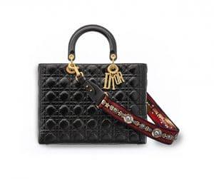 Dior Black Crinkled Calfskin Large Lady Dior Supple Bag
