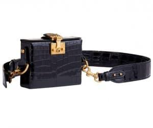 Dior Black Crocodile Dioraddict Small Lockbox Bag