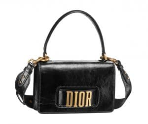 Dior Black Dior Flap Bag with Slot Handclasp and Top Handle