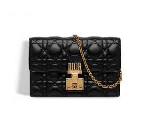 Dior Black Dioraddict Wallet on Chain Clutch Bag