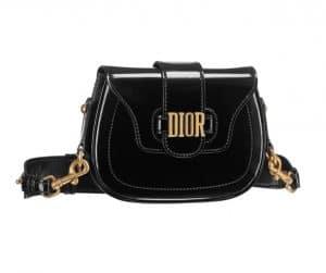 Dior Black Glazed Calfskin D-Fence Saddle Bag