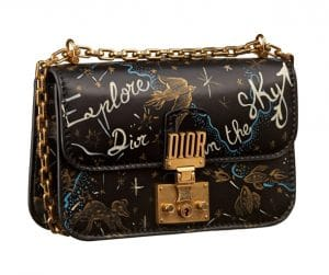 Dior Black Printed Dioraddict Flap Bag