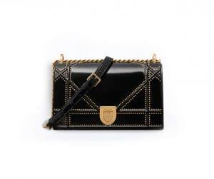 Dior Black Studded Glazed Calfskin Diorama Bag
