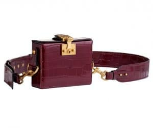 Dior Burgundy Crocodile Dioraddict Small Lockbox Bag