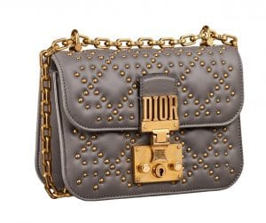 Dior Gray Studded Dioraddict Mini Flap Bag