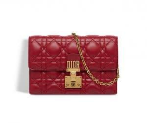 Dior Red Dioraddict Wallet on Chain Clutch Bag