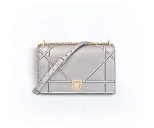 Dior Silver-Tone Metallic Diorama Bag