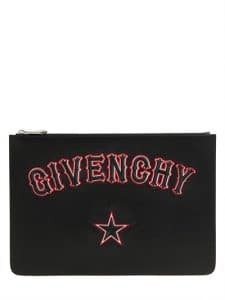 Givenchy Black Gothic Logo Patches Large Pouch Bag