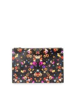 Givenchy Black Multicolor Pansies Print Large Pouch Bag