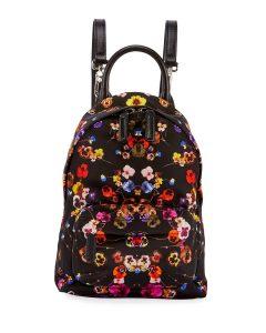 Givenchy Black Multicolor Pansies Print Nano Backpack Bag