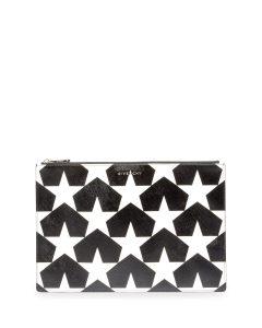 Givenchy Black/White Star Print Large Pouch Bag