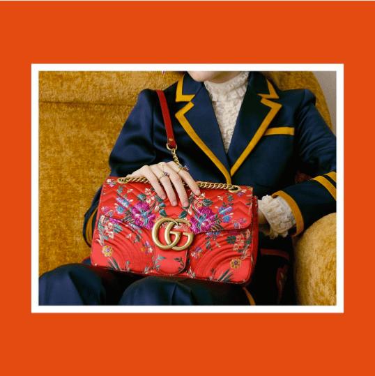 3aac7718323707 Gucci Floral Jacquard Medium GG Marmont Flap Bag 2. IG: gucci