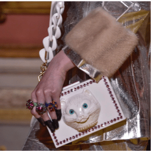 Gucci White Studded Cat Shoulder Bag - Cruise 2018