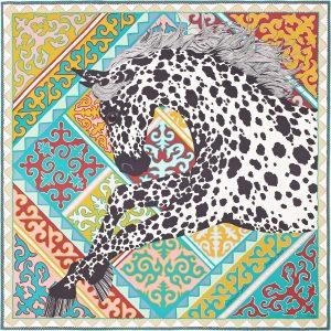 Hermes Appaloosa des Steppes Silk Twill Scarf 90