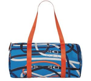 Hermes Bleu Zanzibaribar/Orange Poppy/Fauve Airsilk Duffle 38 Bag