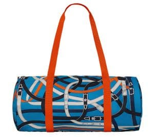 Hermes Bleu Zanzibaribar/Orange Poppy/Fauve Airsilk Duffle 44 Bag