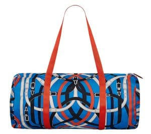 Hermes Bleu Zanzibaribar/Orange Poppy/Fauve Airsilk Duffle 50 Bag
