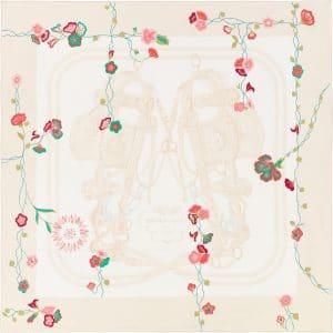 Hermes Brides Fleuries Silk Twill Scarf 90
