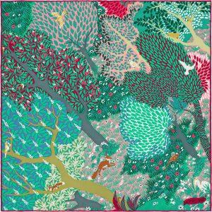 Hermes Dans un Jardin Anglais Silk Twill Pocket Square 45