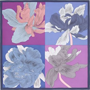 Hermes Etude pour un Iris Arc-en-ciel Silk Twill Scarf 90