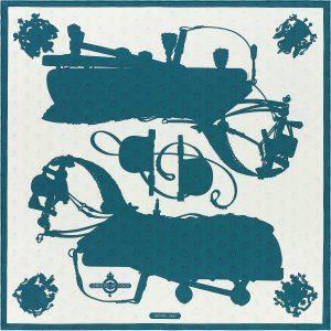 Hermes Harnais de Cour Tattoo Silk Twill Scarf 90